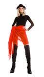 attraktiv svart röd kvinna royaltyfria bilder