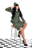 Attraktiv understöd medmänsklig ung tappningPin Up Model In Military likformig Royaltyfria Foton