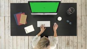 Attraktiv ung affärsdam som använder en dator, medan arbeta i regeringsställning Grön skärmmodellskärm arkivfilmer