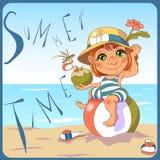 Attraktiv ung kvinna i bikinin som ligger på poolsiden och ler på kameran vektor illustrationer