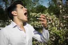 Attraktiv ung man bredvid att nysa för blommor royaltyfri bild