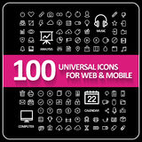 Attraktiv uppsättning för 100 universell symboler Fotografering för Bildbyråer