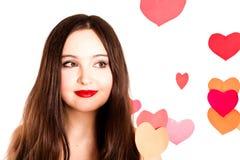 attraktiv valentinkvinna för dag s Arkivbilder