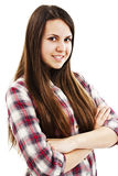 Attraktiv vikt hand för leende tonårs- flicka Arkivbilder