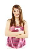 Attraktiv vikt hand för leende tonårs- flicka royaltyfria foton