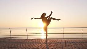 Attraktiva ballerinaövningar, i sträckning Göra klassiska balettflyttningar Lång haired ung flicka i mörk ballerinakjol lager videofilmer
