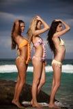 attraktiva bikinier som slitage unga kvinnor Royaltyfria Bilder