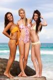 attraktiva bikinier som slitage unga kvinnor Royaltyfri Foto