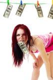 attraktiva dollar oss kvinna Arkivbild