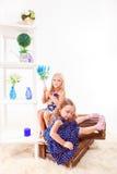 Attraktiva förskole- flickor Royaltyfria Foton