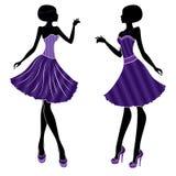 Attraktiva flickor i kort klänning och med långa häl royaltyfri illustrationer