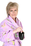attraktiva gammalt kvinnaår för kaffe forty royaltyfria bilder