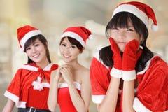 Attraktiva julflickor arkivbild