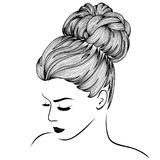 Attraktiva kvinnor med högt ursnyggt hår royaltyfri illustrationer