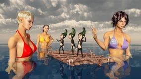 Attraktiva kvinnor som badar i havet och, ställa i skuggan på en flotte Arkivbild