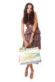 attraktiva påsar som shoppar plattform kvinnabarn royaltyfri fotografi
