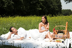 attraktiva par som har picknickbarn Arkivbilder