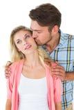 attraktiva par som tillsammans ler barn Royaltyfri Fotografi