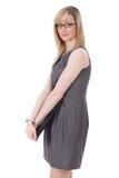 attraktiva svarta blonda affärskvinnadagbokhåll Royaltyfria Foton
