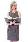 attraktiva svarta blonda affärskvinnadagbokhåll Arkivfoton
