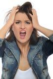 attraktiva uttryck som skriker kvinnabarn Royaltyfria Foton