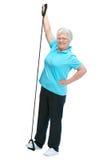 Attraktive ältere Frau am Gesundheitsklumpen Stockfotografie