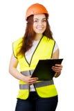 Attraktive Arbeitskraft mit Reflektorweste Stockbild