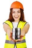 Attraktive Arbeitskraft mit Reflektorweste Stockbilder