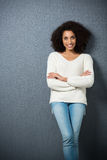 Attraktive überzeugte Afroamerikanerfrau Stockbild