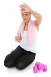 Attraktive blonde Entspannung nach Gymnastik Lizenzfreies Stockbild