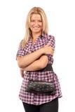 Attraktive blonde Frau mit Fonds Lizenzfreie Stockfotos