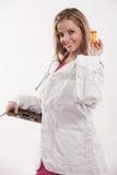 Attraktive blonde kaukasische Gesundheitspflegearbeitskraft Lizenzfreie Stockfotografie