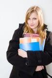 Attraktive blonde Kursteilnehmerfrau. Stockbilder
