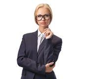 Attraktive blonde tragende Gläser der Geschäftsfrau Lizenzfreie Stockfotografie
