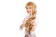 Attraktive Blondine mit den Daumen oben Stockfotografie