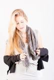 Attraktive Blondinenabschlussaugen Stockfoto