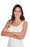 Attraktive Brunettefrau mit braunen Augen Stockbilder