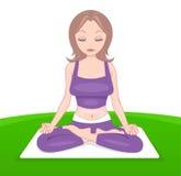 Attraktive Dame in der purpurroten Kleidung in der Yogahaltung vektor abbildung