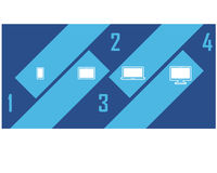 Attraktive Diagonale Gerät-Gerät Infographic-Design Clipart Lizenzfreies Stockfoto