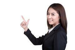 Attraktive direkte Witzboldklage der Geschäftsfrau lokalisiert Stockfoto