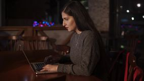 Attraktive erwachsene Frau, die an einem Laptop arbeitet stock footage