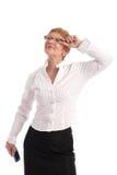 Attraktive fällige Geschäftsfrau Stockfoto