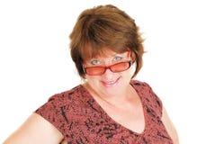 Attraktive Frau in den Gläsern Stockfotos
