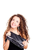 Attraktive Frau, die einen Beutel anhält Lizenzfreies Stockfoto