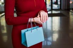 Attraktive Frau, die Einkaufstasche hält Lizenzfreies Stockfoto