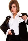 Attraktive Frau, die strenges Geheimnis schützt Stockbilder