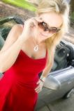 Attraktive Frau im Abendkleid Lizenzfreies Stockfoto