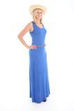 Attraktive Frau im blauen Kleid Lizenzfreie Stockfotos