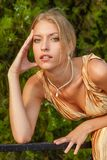 Attraktive Frau im Goldkleid Stockbilder