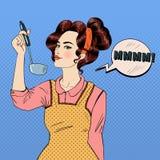 Attraktive Frau im Knall Art Style Cooking in der Küche Lizenzfreies Stockfoto
